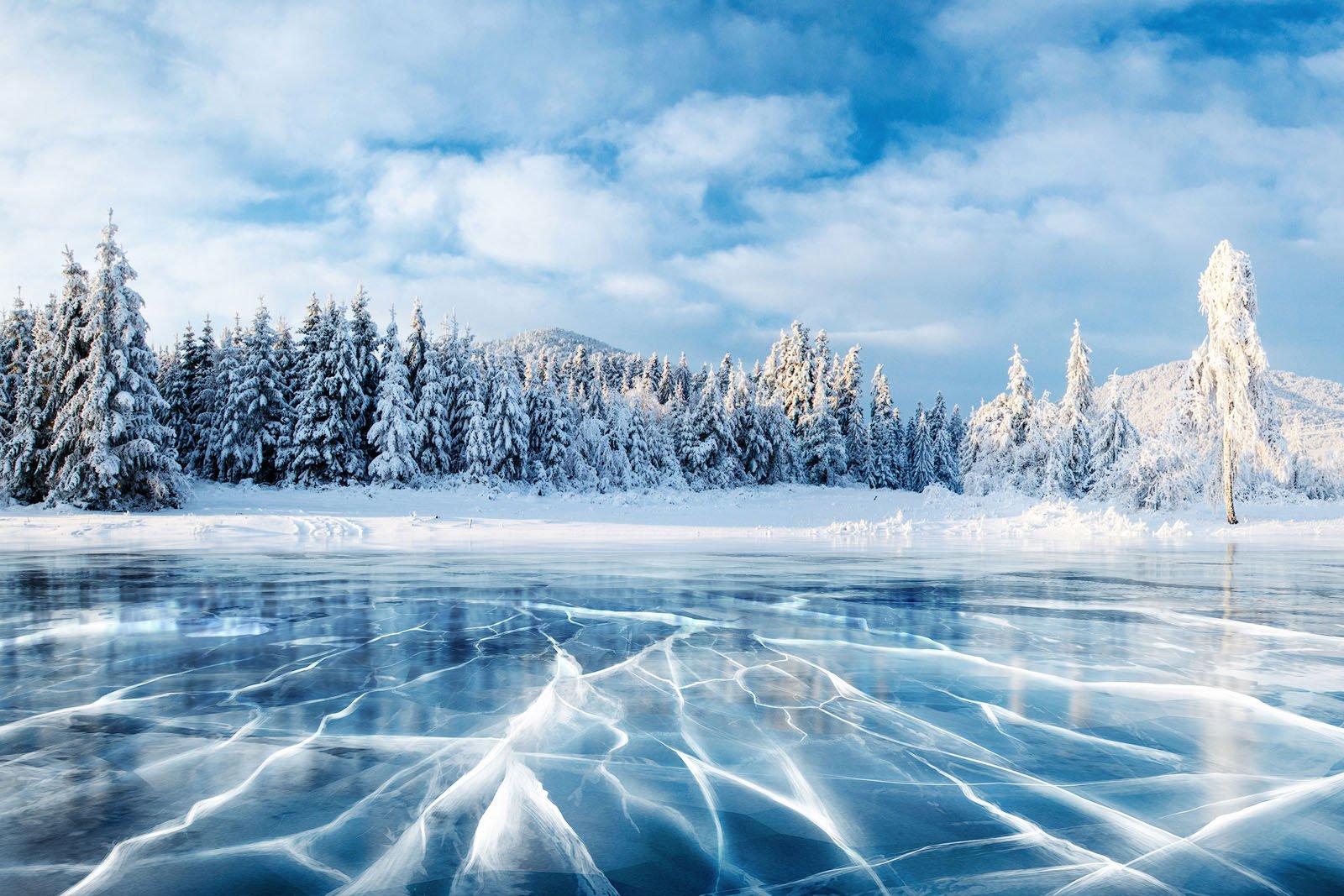 Blue Ice Cracks Lake Baikal